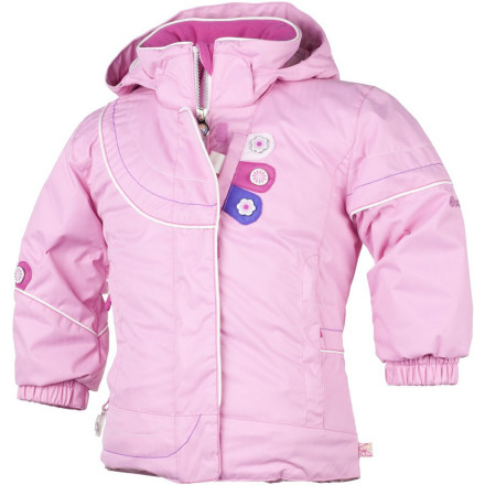 Ski Your snow princess has no problem tossing on the Obermeyer Girls' Karma Jacket and helping her little brother tie his boot laces when you mention the word sledding. Slightly shaped with a long cut and stuffed with Permaloft insulation, this jacket keeps her cozy and comfortable while she screams down the hill in her sled. - $77.67