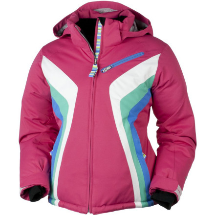 Ski The Obermeyer Girls' Aurora Jacket brings retro back with its smooth style and poppy contrasting colors. Permaloft insulation and HydroBlock V laminate are ready for winter both on and off the slopes. - $89.67