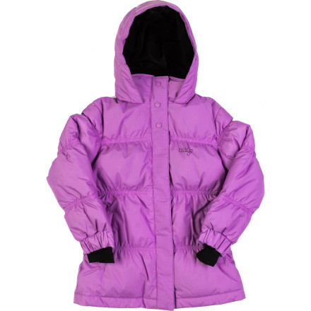 Ski Slide your little girl's arms into the comfort of the Orage Little Girls' Mini Maia Down Jacket. Its down and synthetic blend insulation warms her core on chilly early morning walks to accompany her big sis to the bus stop or during her afternoon ski lessons, while its Prime 10 membrane helps shield her from the wet from a sneak attack snowball fight by her brother. - $89.97
