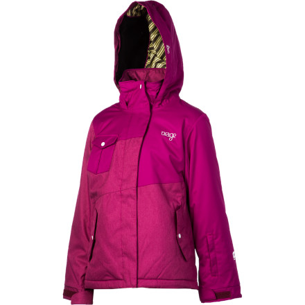 Ski Orage oozes with eye-catching, on-hill style, but it also puts out hardcore gear, and the Orage Girls' Santa Ana Jacket is a prime example. Fleecy insulation that will keep your youngster from freezing on frigid days, double-layer weather protection to keep her dry, vents, powder skirt, and fleece-lined hood ensure she's adorned with more than asymmetric superstyle. But be warned: smart, functional fashion can be addictive. - $48.00