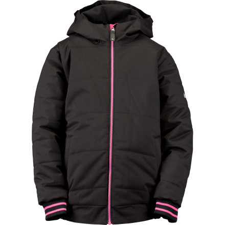 Ski Ride stuffed a bunch of puffy insulation into Girls Shelby Jacket so she'd have no excuses for not staying out in the cold. Not that she's eager to come inside, not with the Shelby's comfortable warmth and cool varsity-jacket style surrounding her. - $38.99