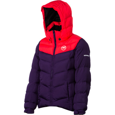 Ski The Rossignol Girls' Polydown Jacket sends her shivers packing thanks to its super-cozy synthetic insulation and comfy neck and hood. Rossignol gave this jacket a standard fit that leaves some room underneath for layers without looking or feeling overly baggy. - $135.96