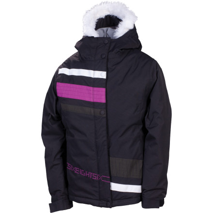 Ski Retro-inspired and equipped for cold-weather kicks, the 686 Girls' Mannual Zoe Insulated Jacket keeps the young riders staying drier and looking flyer. - $47.25
