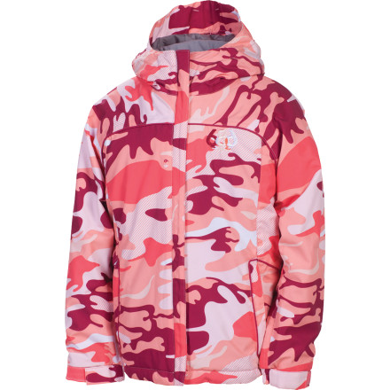 Ski Whoever said camouflage had to help you blend in' Certainly not the 686 Girls Mannual Courtney Insulated Jacket. The Courtney's stand-out style will not go unnoticed on grey winter days or be denied fresh powder on those bluebird days right after the storm. Infidry-5 equips this bodacious bomber with 5,000mm waterproofing and a  5,000gm breathability rating to match. For fending off the chills 120/80g insulation generates the heat to keep you going until the lifts stop. - $43.75