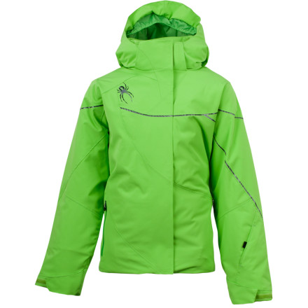 Ski Technically savvy, with all-weather protection and fashion-forward style, the Spyder Girls' Tresh Jacket will ignite a smile on your young skier's face. She can choose eye-catching colorblock or a fresh blast of solid color enhanced with flashy Bemis overlays, so she can look as ripping as she feels. - $125.97