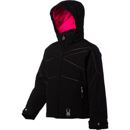 Ski The Spyder Girls' Glam Jacket may go easy on the pocketbook, but it doesn't hold back on high-tech fabrics, style, and insulation. The Glam keeps you plenty comfortable while you rock the lift-line runway in this streamlined, snow-shedding jacket. - $97.97