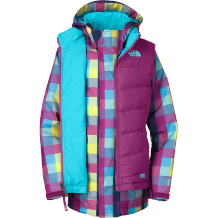 Ski With four different ways to wear it, you get maximum mileage out of The North Face Girls' Vestamatic Triclimate Jacket.  Fall through spring, you girl can enjoy any conceivable combination of the bright plaid  insulated, waterproof jacket and the quilted contrasting down vest: wearing the vest on its own on cool fall mornings, to layering the vest over the jacket when a cold, dry spell settles in for a stay, to moving the vest under the shell when a Nor'easter blows through. - $110.97