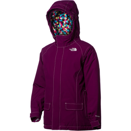 Ski The North Face Cameele Insulated Girls' Jacket may have a sleek, tailored exterior, but it shows off its fun-loving side with its floral print lining. Appearances aside, it's all business when it comes to keeping your gal warm in freezing winter weather, offering both a waterproof breathable HyVent shell and toasty Heatseeker insulation. - $89.97