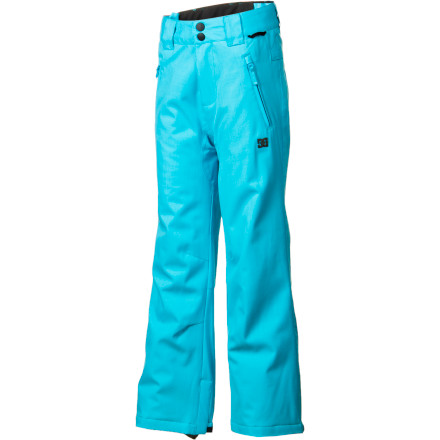 Ski The DC Girls' Piper Pant gives your kiddo a clean but definitive look and solid color blocking that will go with just about any jacket. For fighting cold moisture, the Piper Pant uses critical seam taping and 5K  moisture-resistant polyester material. - $63.00