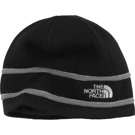 Camp and Hike The North Face Logo Beanie is a solid lid to keep your dome insulated when it's chilly out, whether youA're skiing the trees in December or taking a crisp early-morning hike in June. The North Face lined the hat's super soft merino wool with microfleece to wick moisture away. Stay warm and dry in woolly comfort. - $17.97