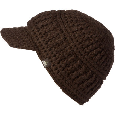 The prAna Brett Visor Beanie covers your head with soft acrylic, a fuzzy fleece liner, and hand-knit style. - $22.72