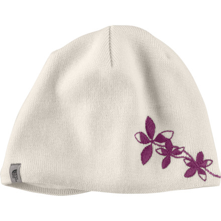 Ski Before you head out for a couple of laps around the skate-ski track, pull on The North Face Women's Kelsie Beanie. Soft, breathable fine-gauge merino wool keeps you warm without suffocating your head, while a microfleece earband on the inside gives your tender ears a little extra protection. And the sweet, understated floral embroidery is sure to draw admiring comments from any friends you might meet out on the trails. - $22.72