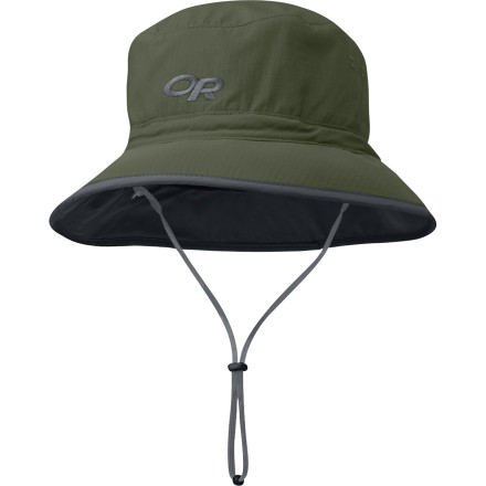 Camp and Hike The Outdoor Research Sun Bucket Hat protects your head from the sun on bright bluebird days in the outdoors. With UPF 50+ SolarShield fabric defending your melon from the sun's rays, the Sun Bucket hat offers protection that no sunscreen can touch. Outdoor Research gave this summer hiking hat a Coolmax headband to wick the sweat away and a removable drawcord to keep this cap firmly planted on your head if the wind picks up on the trail. - $31.95