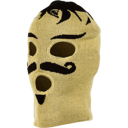 Surf The Quiksilver Charro Facemask gives you the upper hand in the gentlemanly sport of fisticuffs. Because we all know that he who hits the hardest is the one with the most spectacular mustache. - $16.80