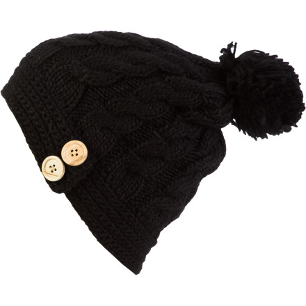 Ski This year you're making the big bucks ... well, sort of. Step up your headwear with the Discrete Women's Varmo Pom Beanie. This isn't your ordinary beanie. Its chunky knit weave, pom-pom, and stylish side buttons show you're moving up in the world. No longer do you live in a ski-bum house with ten peeps (now it's down to five). - $18.17