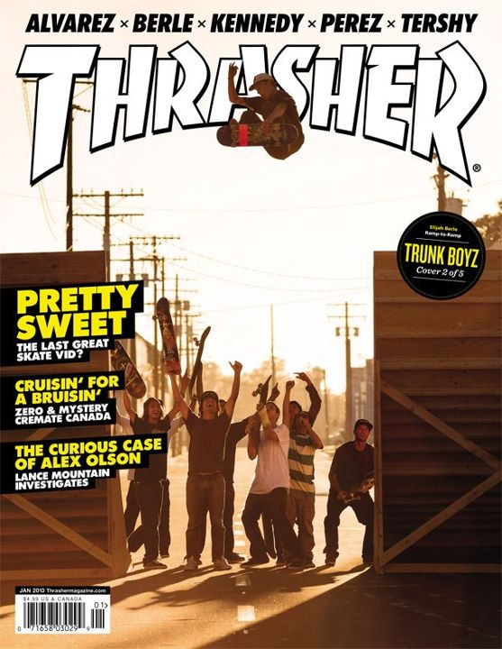 Skateboard Here's Elijah Berle on the January cover of Thrasher Magazine. The skate dudes have been busy this year. Check out the year in review full of photos and videos on the skate blog. Happy New Year! http://ht.ly/grZhp