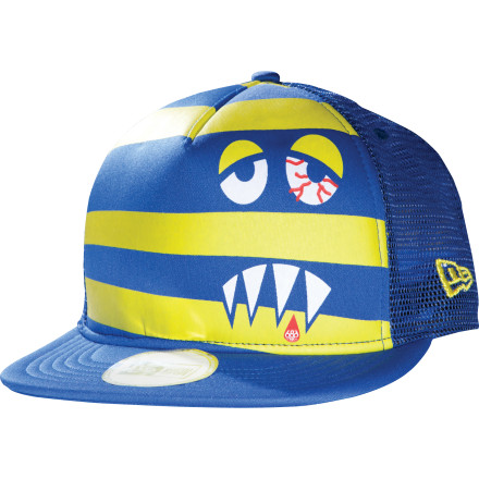 How often does someone walk up to you and say, 'Wow, that's an awesome little monster face on your hat!'' Probably not often, but now it can happen everyday thanks to the 686 Snaggle Stripe Adjustable New Era Trucker Hat. Mesh keeps your head cool in the back, and a flat-brim visor makes you look like a rap star on tour in the front...or at least something closer to a celebrity. - $23.96