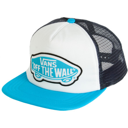 Skateboard Pop on the Vans Women's Beach Girl Trucker Hat and stay indoors. Tricked you. Now you have to go strut your short-shorts and bikini top down on the sand. You can keep the sun out of your eyes with this Vans trucker cap, or use it to sift sand. - $14.41
