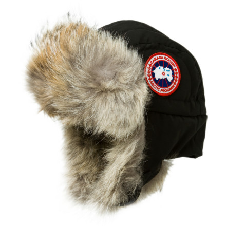 Fishing Shield your face from snow and wind with the Canada Goose Aviator Hat when your prop plane crash lands somewhere between Juneau and Anchorage. It could be worse, because the coyote fur surrounding the face catches snow and wind before it turns your face into a frozen lump of flesh. The water-resistant shell fabric prevents melting snow from penetrating to your warm head as you start a signal fire. The chin buckle secures the ear flaps over your ears or folded on your head when you need to listen closer for a rescue helicopter. - $224.95