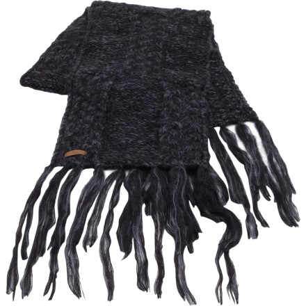 Winter's chilly worries disappear into the wind when you're bundled up in hand-knit The Women's Coal Addie Scarf. Wrap this not-too-long, not-too-short scarf around your neck and feel the soft soothing warmth of mixed cable and knit patterning. Tassel detailing will make your style all the rage at your next coffee-talk session with the ladies. - $26.97