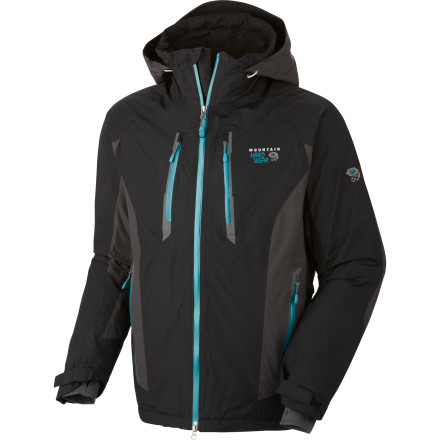 Ski Combine the waterproof and wind proof performance of a breathable Dry.Q Elite shell with the warmth of Thermic Micro insulation, and you get the Men's Mountain Hardwear Vertical Peak Jacket. The Dry.Q Elite fabric and underarm zips keep you dry and comfortable so you can log unlimited vertical feet in search of the perfect line. When you find it and greedily point your tips downhill, you'll be glad the stretch powder skirt is there to keep the fluff off your belly. - $279.97