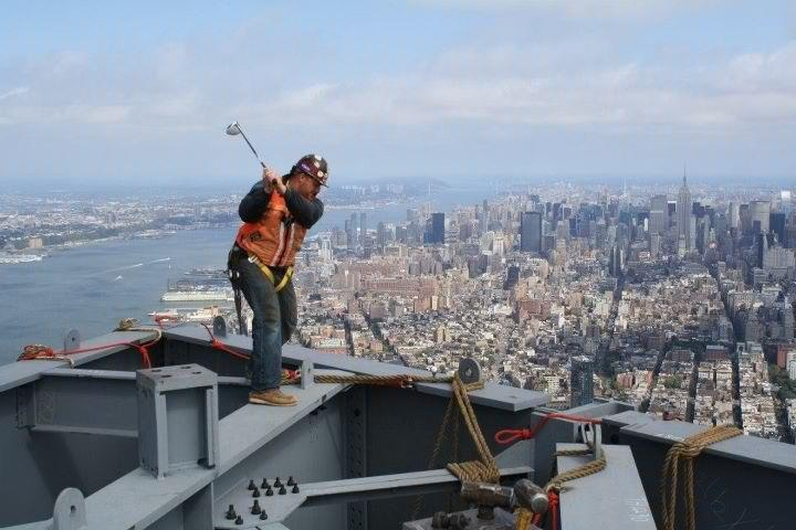 Golf The. Best. Golf. Christmas. Card. Photo. Ever.  (Thanks to TaylorMade Golf fan Kevin Sabbagh for sending us this incredible image of himself swinging an R11 TP driver atop Freedom Tower in New York City.)