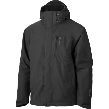Ski Waterproof breathable Gore-Tex Performance Shell gives the Marmot Men's Palisades Jacket its robust ability to protect you from the weather, and an array of comfort features keeps a smile on your face from late fall to early spring. Zip a Zippin-compatible liner jacket into this storm shell during the winter, and when it's time to hike through early spring showers, leave the mid-layers at home, zip off the hood, zip out the powder skirt, and open up the underarm zips. This is a versatile, three-season shell that steps in and out of the seasons just as quickly as you can change gears between ski season and hiking season. - $299.95