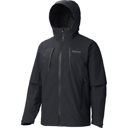 Ski Marmot engineers gave the Men's Conness Jacket a little extra length at the back so the waterproof breathable Membrain shell material will easily protect your backside from soggy snow and wet weather. You'll find all the features you need to comfortably weather a storm, from underarm zip vents to a laminated hood brim and a zip-off powder skirt. Reach for this jacket when you run into heavy snow at your local ski resort and when cold, early-spring showers threaten your walk in the woods. - $139.98