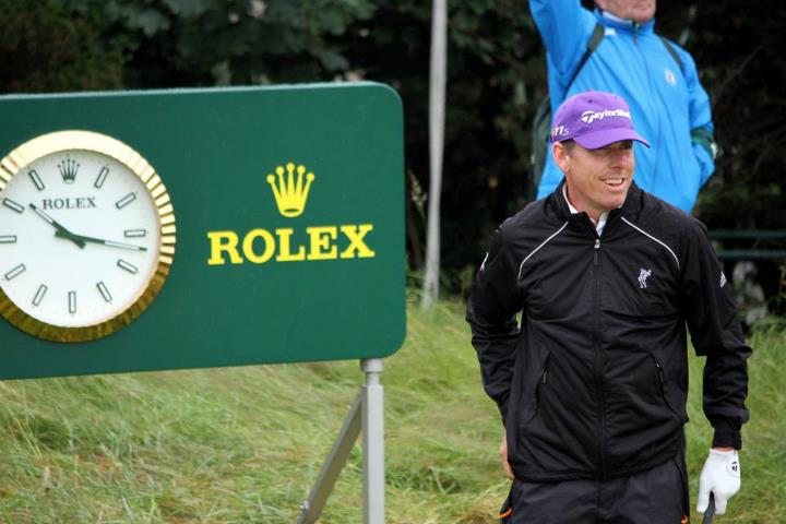 Justin Leonard cracks a smile during his Monday practice round at the 2012 Open Championship.