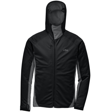 Zip up the Outdoor Research Centrifuge Long-Sleeve Top before you start skinning up. The Centrifuge's wind- and water-resistant front fabric keeps the wind from killing your motivation, and the highly-breathable Radiant LT back and sides keep you from overheating halfway up. - $124.95