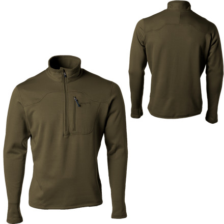 What wicks moisture, is extremely breathable, and keeps you warm when you summit the peak or wrestle in the snow with your gal' The Patagonia Men's R1 Fleece Pullover. This quick-drying pullover is exactly what you need for additional warmth underneath your shell. Its jersey microfiber face allows for smooth layering, and you can store your cash and ID in the chest pocket when you want to hit up the apr's-bar scene after a full day of charging hard on the slopes. - $129.00