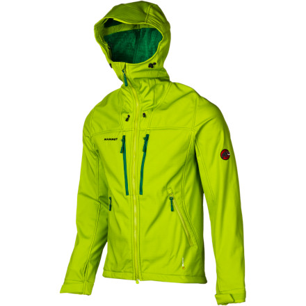 Whether you're swinging tools in Ouray or picking your way up a knife-edge ridge in the Tetons, the Mammut Men's Avers Softshell Jacket has you covered.  The Polartec Power Shield Pro fabric shrugs off wet weather with a DWR finish, breathes for comfort during high-exertion activity, and has a soft fleecy backing for warmth and comfort. Plus, the zipped front pockets are positioned so you can access them while wearing a pack and harness. - $358.95