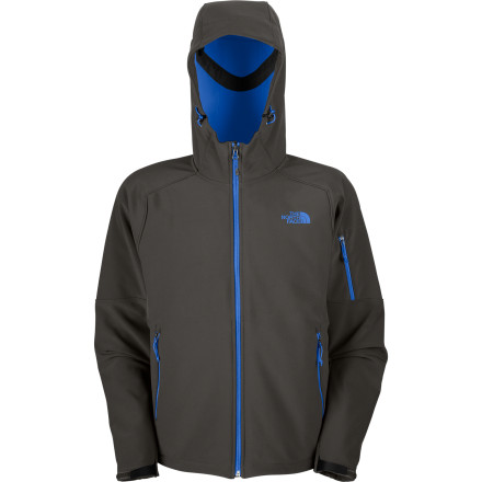 Wear The North Face Men's Apex Android Hooded Softshell Jacket when robots take over the world. This fully windproof softshell with water-resistant breathable fabric puzzles those pesky metal heads thanks to it weather-resistant powers. An adjustable hood and hem cinch-cord give you a just-right fit, while multiple pockets hold your arsenal of screwdrivers. - $93.47
