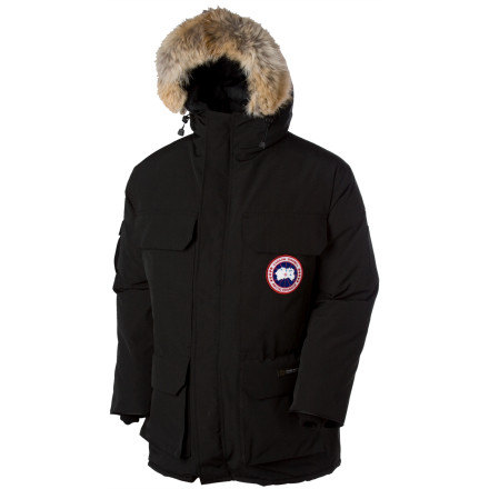 Entertainment The Canada Goose Men's Expedition Parka is the original, undefeated champion of extreme cold-weather utility jackets, and its quality and warmth are simply without question. After over 20 years of use by the National Science Foundation at Antarctica's McMurdo Station research facility, the Expedition Parka has proven its worth in the harshest, coldest environments on the planet. With its Teflon-coated Arctic-Tech fabric protecting the super-high lofting, 625 fill-power duck-down insulation within, this parka is designed to let you operate in total comfort, well into sub-zero Fahrenheit conditions. Four front cargo pockets and two sets of fleece-lined handwarmer pockets provide space for every glove, hat, and instrument, with room to spare. These, plus a down-filled hood, freeze-proof genuine coyote-fur ruff and interior snow skirt are just some of the features setting the Expedition Parka far, far apart from its many imitators. - $556.47