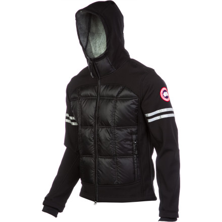 Canada Goose Hybridge Hooded Down Jacket blends softshell fabric on the hood, shoulders, and sleeves with traditional shell material on the chest and back panels. Strategic placement of the premium 750-fill Hutterlite down insulation ensures cold spots are a thing of the distant past, and a sleek slim fit make it a hit around town or in the foothills. - $437.47