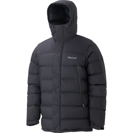 Ski Marmot made the Men's Mountain Down Jacket with the same warmth-retaining features used in a high-end, cozy sleeping bag. A powder skirt and a long length make this puffy sweet for butt-cold days on the slopes, and Marmot's Angel Wing Movement design lets you move your arms without lifting the entire torso of this jacket. The 650-fill down insulation keeps you toasty, a waterproof breathable membrane comes in handy during ice climbing adventures, and a detachable powder skirt keeps the snow from staging an invasion when the skiing is just too good to slow down. - $251.97
