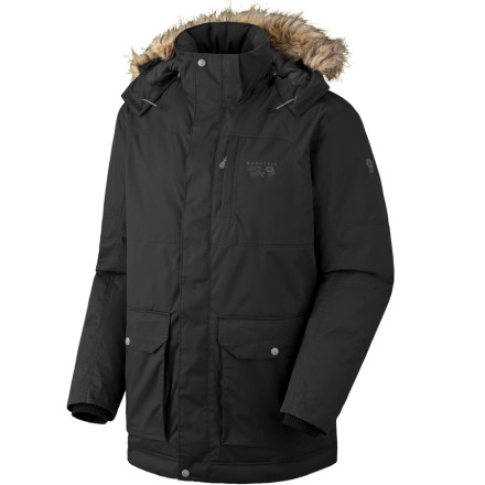 Ski Stay warm and dry with Mountain Hardwears Lacerta Down Coat. This coat comes with 650-fill down insulation to trap in warmth and a Conduit membrane to repel snow. You'll find the removable hood convenient, and a plethora of pockets make your phone, your tunes, and a snack easy to get to. - $251.97