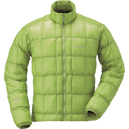 Climbing Forget fanciful names inspired by Himalayan peaks; the Montbell Mens Extremely Light Down Jacket tells it like it is. At a wispy 5.7 ounces, this ultralight down layer provides high-loft warmth for demanding climbing, skiing, and backpacking applications. Stuffed with feather-light 900-fill goose down, the Extremely Light Jacket packs down to nearly nothing and fluffs up easily when a frigid gust hits the belay. A DWR-coated Ballistic Airlight shell brushes off snow and light drizzle, and the included stuff sack helps it disappear into your pack when youre on the go. - $198.95