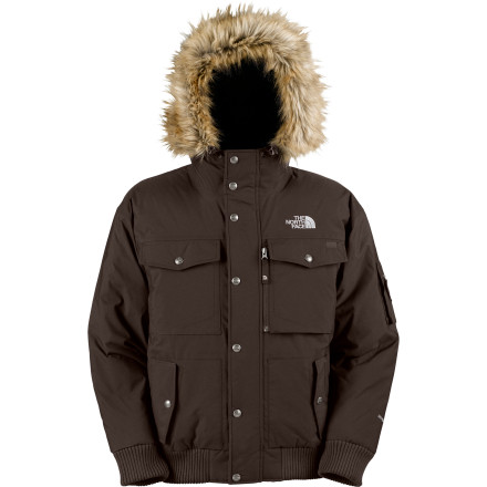 Entertainment The North Face Mens Gotham Down Jacket gives you down warmth and urban style in a handy short jacket-cut. With the Gotham, you can strut your stuff in weather that will have most people making a mad dash for a taxi and you wont feel like youre wearing a down dress. - $164.42
