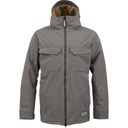 Snowboard Wear the Burton Knox Insulated Jacket i9n the dead of winter and let the little glow of eco-pride keep you warm (and maybe a little snug). Burton gave the Knox recycled insulation and a recycled taffeta liner so you can feel cozy in the knowledge that you just saved Earth. - $134.96