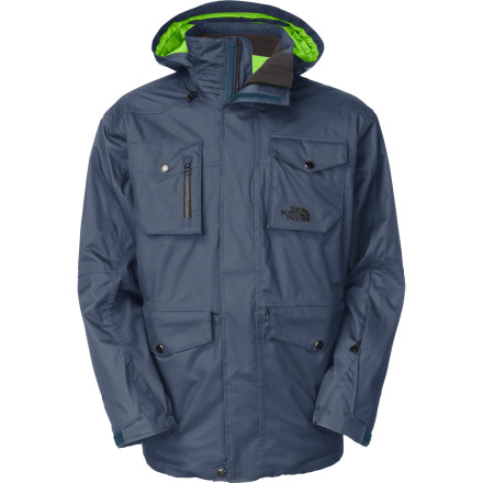 Snowboard Since you flash big pow lines, you may as well dress the part with The North Face Men's Rugher Jacket. The Rugher features a faux-denim, work-wear aesthetic that sets you apart from the norm while its innovative respirator collar helps solve goggle fogging and moisture buildup when you're charging down a massive pow field. The North Face also equipped the Rugher with a waterproof breathable shell and tons of pockets so you stay well-protected from the elements and have access to snack or two. - $194.32