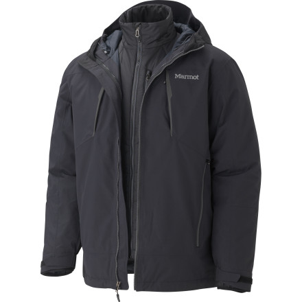 Camp and Hike The Marmot Men's Gorge Component Jacket solves all of your cold weather needs, thanks to its removable Thermal R liner jacket. Whether you're skiing, winter camping, or simply shoveling your truck out of the driveway in the middle of a snowstorm, this fully waterproof breathable jacket keeps you warm and dry. - $244.97