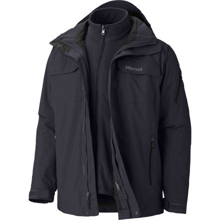 Snowboard The Men's Sidehill Component Jacket gives you a removable fleece liner jacket inside a weatherproof shell designed for skiing, snowboarding, and everyday winter life. The shell features zip vents to keep you cool and waterproof breathable fabric technology to keep you dry, while the liner jacket uses toasty-warm fleece to insulate you against the cold. Take advantage of the versatility of this 3-in-1 and always be prepared for variable winter weather. - $324.95