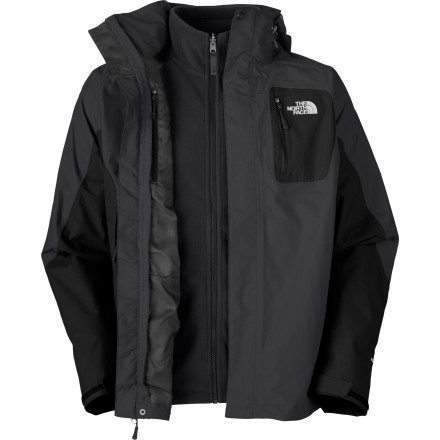 Snowboard Whether you 1/2re post-holing up a ridge or sledding with the kids, The North Face designed the Men 1/2s Atlas Triclimate Jacket to protect you from the elements without bogging you down. This Flight Series jacket 1/2s shell features HyVent waterproof breathable material and taped seams to help you stay dry inside and out, even when you exert. Wear the shell and midweight fleece liner on cold, wet days, and wear the shell alone when temps climb but a storm is in the forecast. - $179.96