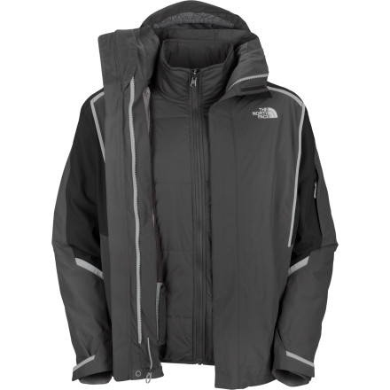 The North Face Cornice Triclimate Jacket gives you a dialed-in layering system that is more than a match for just about any condition. The shell features a high-tech HyVent layer to repel winter storms and mountain-top gusts. When the temperature drops, the zip-in liner  with Heatseeker insulation locks in the warmth you need when you're waiting for the rest of your crew at the summit. - $142.97