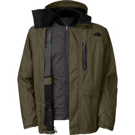 The North Face Houser Triclimate Jacket is a stylish, techy shell wrapped around a reversible, stand-alone liner with a flight-style collar to keep it out of the way and extremely comfortable. This is a true 4-in1 jacket, and believe us, it will be years before anyone figures out how to cram more jackets into a jacket. - $227.47