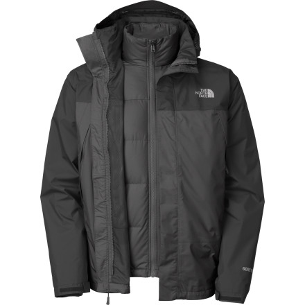 Bitter cold, freezing rain, and mountainous environments, The North Face Men's Mountain Light Triclimate Jacket fears not these things. An integrated design marries a lightweight, combination fleece and down jacket for insulation inside, and guaranteed-waterproof Gore-Tex storm shell on the outside. All this and you get The North Face's legendary design and quality, so if you need more protection...you might have to build a concrete bunker. - $174.98