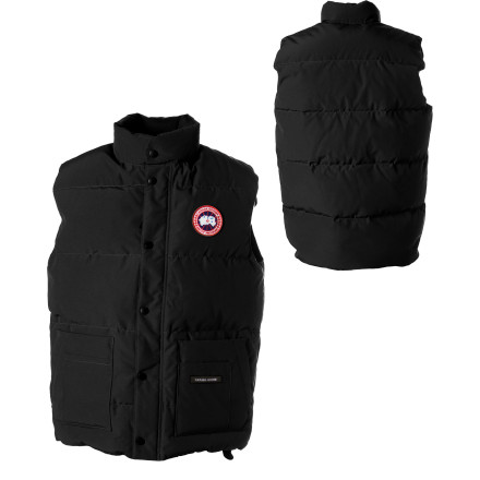 Hunting The Canada Goose Men's Freestyle Vest has been a staple in their tough, warm expedition outerwear line for years, because of its straightforward design, ample pocket space, and burly Arctic-Tech fabric protecting the super light premium duck down insulation within. Throw it over a sweater to split and carry firewood, then slide it under a shell or insulated jacket for unbeatable core warmth when night falls or the mercury nose-dives. The Freestyle Vest's unique three-way pocket design has two separate top-loading sections that hold your gear away from the fleece-lined zip handwarmer pockets on the sides. - $274.95