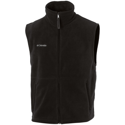 Ski Wear the Columbia Men's Cathedral Peak Vest over a hiking shirt or under a ski jacket for extra insulation. Thick, soft fleece traps body heat around your core, so you can keep breaking trail or making turns when the temperature drops a few degrees. Off the mountain, zip up the standard-fit Cathedral Peak Vest over a T-shirt for some extra warmth, color, and casual style. - $29.95