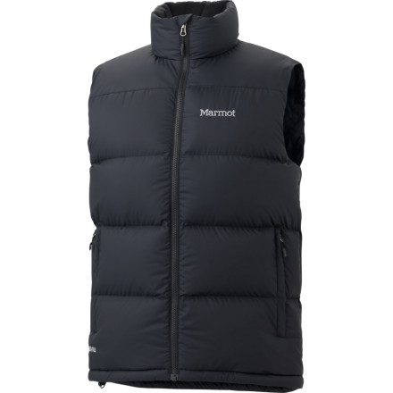 Entertainment Coated with DWR and packed with premium down, the Marmot Men's Guides Down Vest is a powerful ally in the struggle with low temperatures and extreme environments. Zippered handwarmer pockets provide temporary relief from biting winds if you've forgotten your gloves while a DriClime lined chin kicks moisture out and prevents uncomfortable chafing. The Guides down vest is easily compressed under an outer shell when nature decides to unleash its frustration on you. - $104.97
